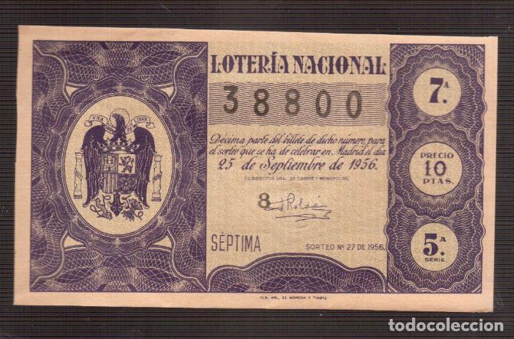 LOTERIA NACIONAL MUY ANTIGUA NUMERO 38800 FECHA 25/09/1956 ----- 7ª-5ª SERIE (Coleccionismo - Lotería Nacional)