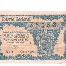 Lotería Nacional: LOTERIA NACIONAL MUY ANTIGUA NUMERO 36058 FECHA 25/03/1958 ----- 1ª-8ª SERIE PRECIO 15 PESETAS. Lote 150520522