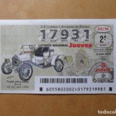 Lotería Nacional: DECIMO LOTERIA Nº 17931 - JUEVES 12 JULIO 2018 - 55/18 - BUIK (EE. UU. 1904). Lote 150688842