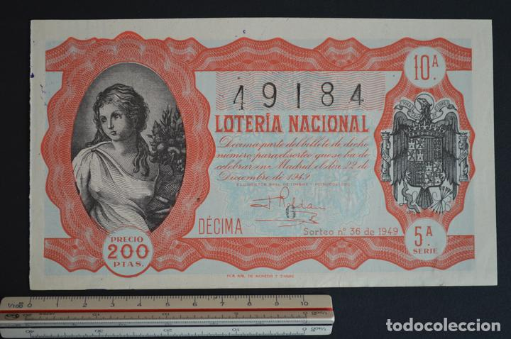 LOTERÍA NACIONAL. SORTEO Nº 36. 22 DE DICIEMBRE DE 1949. ROMANJUGUETESYMAS. (Coleccionismo - Lotería Nacional)