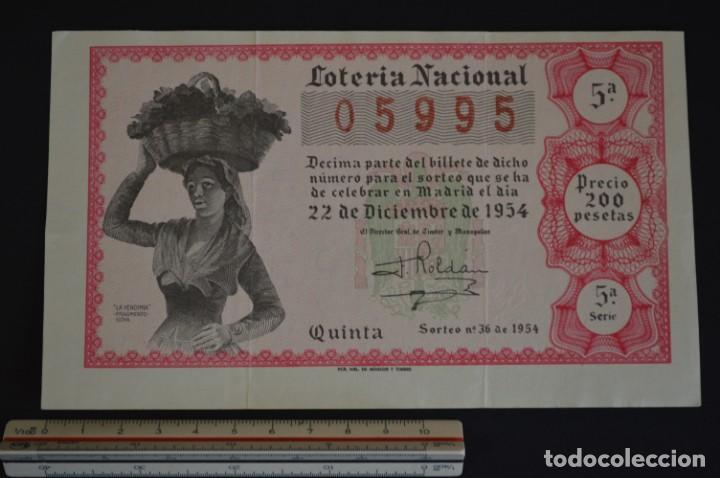 LOTERÍA NACIONAL. SORTEO Nº 36. 22 DE DICIEMBRE DE 1954. ROMANJUGUETESYMAS. (Coleccionismo - Lotería Nacional)