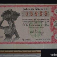 Lotería Nacional: LOTERÍA NACIONAL. SORTEO Nº 36. 22 DE DICIEMBRE DE 1954. ROMANJUGUETESYMAS.. Lote 151117910
