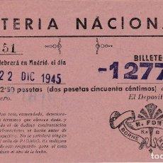 Lotería Nacional: BOLETO LOTERIA MANRESA, 22 DICIEMBRE 1945. Lote 151224938