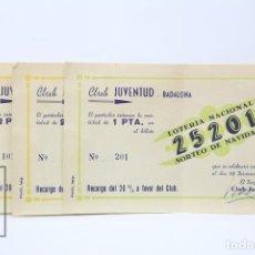 Lotería Nacional: 3 PARTICIPACIONES DE LOTERÍA - CLUB JUVENTUD BADALONA - 2 PESETAS - AÑO 1944. Lote 151250449