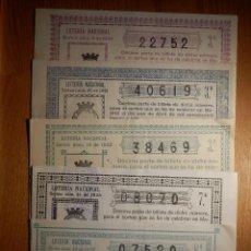 Lotería Nacional: LOTERÍA NACIONAL - LOTE 5 DÉCIMOS AÑO 1933 - SORTEOS Nº 4, 10, 13, 31 Y 34 - EN BUEN ESTADO. FOTOS . Lote 151408570