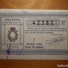 Loterie Nationale: LOTERÍA NACIONAL - AÑO 1927 - SORTEO Nº 1 DEL 3 DE ENERO DE 1927 - 42380 - . Lote 151415414