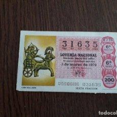 Lotería Nacional: DÉCIMO LOTERÍA NACIONAL DE DIA 03-03-79 CARRO REAL ASIRIO. SORTEO 9/79. Lote 151651254