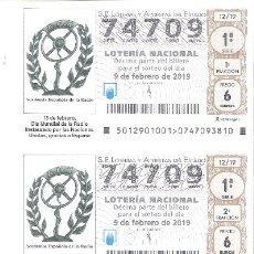 Lotería Nacional: 5 DECIMOS LOTERIA DEL SABADO - 9 FEBRERO 2019 - 12/19 - DIA MUNDIAL DE LA RADIO O EMISORAS. Lote 151659400