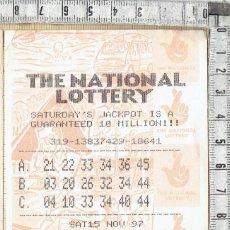 Lotería Nacional: BOLETO INGLES THE NATIONAL LOTTERY - JACKPOT - 1997.. Lote 151664126