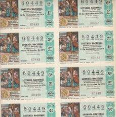 Lotería Nacional: BILLETE LOTERIA NACIONAL (10 DECIMOS SIN CORTAR) 1974 SORTEO Nº 45 EXTRAORDINARIO DE NAVIDAD. Lote 151668828