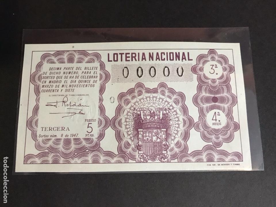LOTERIA 1947 SORTEO 8 NUMERACIÓN 00000 (Coleccionismo - Lotería Nacional)