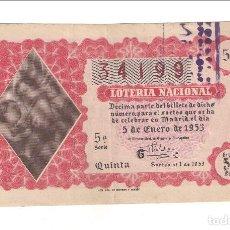 Lotería Nacional: DÉCIMO DEL 5 DE JULIO DE 1960 SORTEO 19 ADMINISTRACIÓN 35 DE BARCELONA (53-1). Lote 153977382