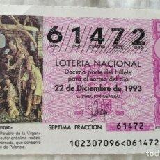 Lotería Nacional: LOTERÍA NACIONAL Nº 61472 96ªSERIE 7ªFRACCIÓN 3.000PESETAS - NAVIDAD - LOTERÍAS I. PRIETO - LLEIDA . Lote 154027478
