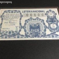 Lotería Nacional: LOTERIA DE 1947 SORTEO 8 CON NUMERACION 00000. Lote 154850566