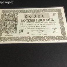 Lotería Nacional: LOTERIA DE 1947 SORTEO 12 CON NUMERACION 00000. Lote 154850790
