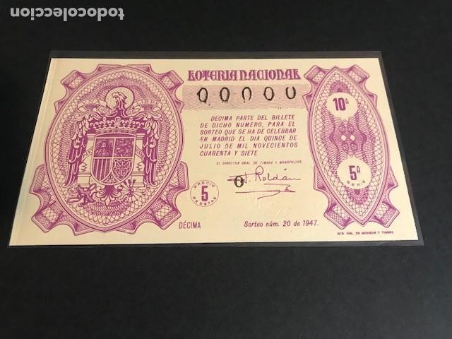 LOTERIA DE 1947 SORTEO 20 CON NUMERACION 00000 (Coleccionismo - Lotería Nacional)