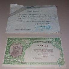 Lotería Nacional: LOTERÍA NACIONAL. PARTICIPACIONES AÑOS 1960 Y 1961 (SEVILLA, LA MACARENA, CONSTRUCCIÓN EL CAMARÍN). Lote 154867158