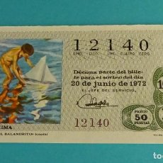 Lotería Nacional: UN DECIMO DEL Nº 12140 PARA EL 20/06/1972. SOROLLA. EL VALANDRITO. Lote 155906165
