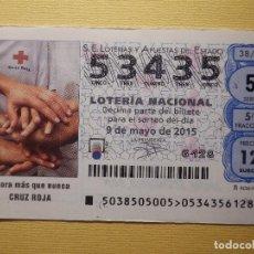 Lotería Nacional: LOTERÍA NACIONAL - DÉCIMO CAPICUA NÚMERO 53435 - SORTEO 38/15 DEL 9 DE MAYO DE 2015. Lote 155931226