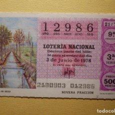 Lotería Nacional: LOTERÍA NACIONAL - DÉCIMO - 12986 - SORTEO CRUZ ROJA 21/78 DEL 3 DE JUNIO DE 1978. Lote 155931782