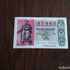 Lotería Nacional: DÉCIMO LOTERÍA NACIONAL DE DIA 22-08-81 EL ACTOR, DON PABLOS. SORTEO 33/81. Lote 156759050