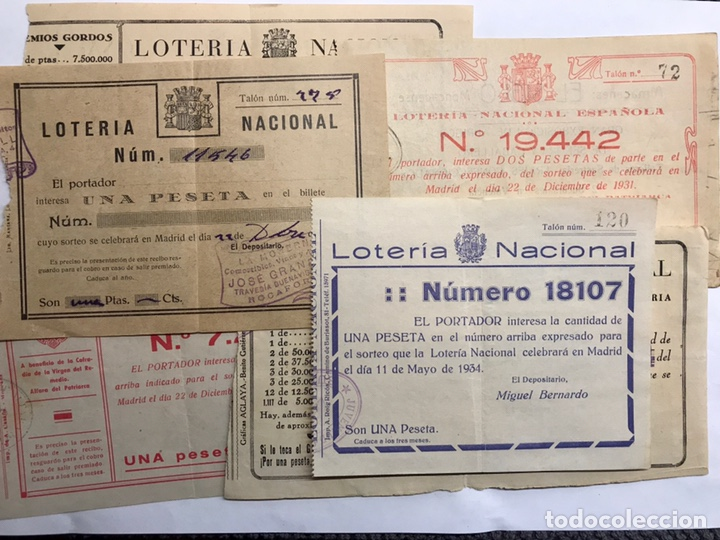 LOTERÍAS. (2) SURTIDO PAPELETAS, PARTICIPACIONES LOTERÍA DE NAVIDAD (A.1933-1939) 7 BOLETOS (Coleccionismo - Lotería Nacional)