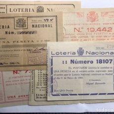 Lotería Nacional: LOTERÍAS. (2) SURTIDO PAPELETAS, PARTICIPACIONES LOTERÍA DE NAVIDAD (A.1933-1939) 7 BOLETOS. Lote 156771861