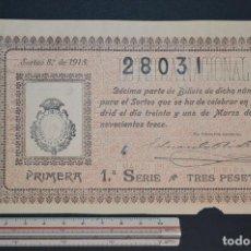 Lotería Nacional: LOTERÍA NACIONAL. SORTEO Nº 8. 31 DE MARZO DE 1913. ROMANJUGUETESYMAS.. Lote 157082550