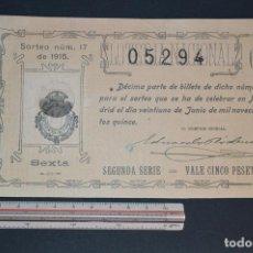 Lotería Nacional: LOTERÍA NACIONAL. SORTEO Nº 17. 21 DE JUNIO DE 1915. ROMANJUGUETESYMAS.. Lote 157088534