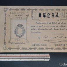 Lotería Nacional: LOTERÍA NACIONAL. SORTEO Nº 17. 21 DE JUNIO DE 1915. ROMANJUGUETESYMAS.. Lote 157089162