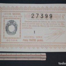 Lotería Nacional: LOTERÍA NACIONAL. SORTEO Nº 8. 12 DE MARZO DE 1928. ROMANJUGUETESYMAS.. Lote 157099086