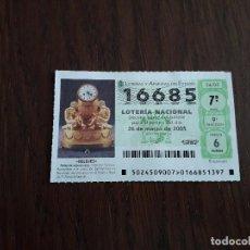 Lotería Nacional: DÉCIMO LOTERÍA NACIONAL DE DIA 26-03-05 RELOJ DE SOBREMESA, SERIE RELOJES. SORTEO 24/05. Lote 157123602