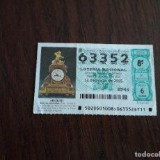 Lotería Nacional: DÉCIMO LOTERÍA NACIONAL DE DIA 12-03-05 RELOJ DE SOBREMESA, SERIE RELOJES. SORTEO 20/05. Lote 157123706