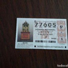 Lotería Nacional: DÉCIMO LOTERÍA NACIONAL DE DIA 16-04-05 RELOJ ESQUELETO, SERIE RELOJES. SORTEO 30/05. Lote 157123794