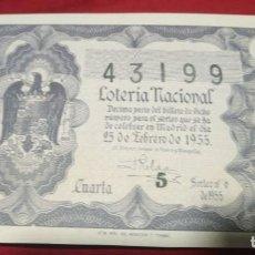 Lotería Nacional: DÉCIMO LOTERIA NACIONAL 1955 SORTEO 6 ESPAÑA. Lote 157787202