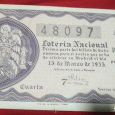 Lotería Nacional: DÉCIMO LOTERIA NACIONAL 1955 SORTEO 8 ESPAÑA. Lote 157787786