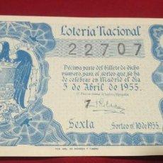 Lotería Nacional: DÉCIMO LOTERIA NACIONAL 1955 SORTEO 10 ESPAÑA. Lote 157787902