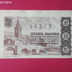 Lotería Nacional: DECIMO DE LOTERIA NACIONAL AÑO 1962 SORTEO Nº 35. Lote 157814330