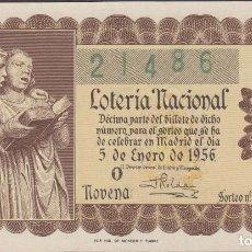 Lotería Nacional: LOTERIA NACIONAL - SORTEO - 1 - 1956 - SERIE 3ª FRACCIÓN 9ª - BARCELONA. Lote 159616398