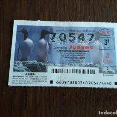 Lotería Nacional: DÉCIMO LOTERÍA NACIONAL DE DIA 17-05-07 ARAO COMÚN, SERIE FAUNA. SORTEO 39/07. Lote 160118326