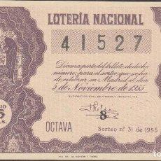 Lotería Nacional: LOTERIA NACIONAL - SORTEO 31 DE 1955 - SERIE 3ª FRACCIÓN 8ª - VALENCIA. Lote 160482534