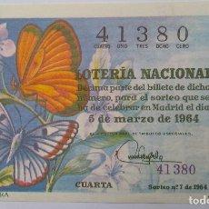 Lotería Nacional: LOTERÍA NACIONAL. AÑO 1964. SORTEO 7. Lote 160593210