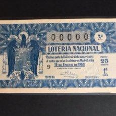 Lotería Nacional: LOTERIA AÑO 1953 SORTEO 2 NUMERACION 00000. Lote 160874546