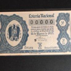 Lotería Nacional: LOTERIA AÑO 1953 SORTEO 8 NUMERACION 00000. Lote 160874721