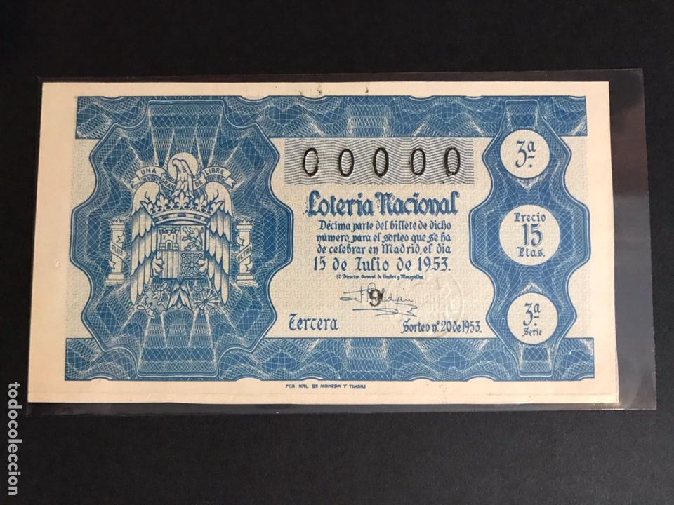LOTERIA AÑO 1953 SORTEO 20 NUMERACION 00000 (Coleccionismo - Lotería Nacional)