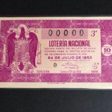 Lotería Nacional: LOTERIA AÑO 1953 SORTEO 21 NUMERACION 00000. Lote 160875508