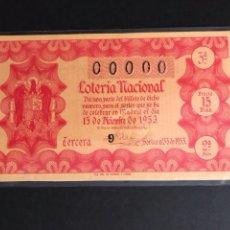 Lotería Nacional: LOTERIA AÑO 1953 SORTEO 35 NUMERACION 00000. Lote 160876005