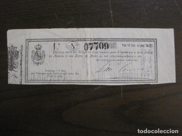 REAL LOTERIA FILIPINA-MANILA-DECIMA PARTE BILLETE-AÑO 1886-VER FOTOS-(V-16.443) (Coleccionismo - Lotería Nacional)