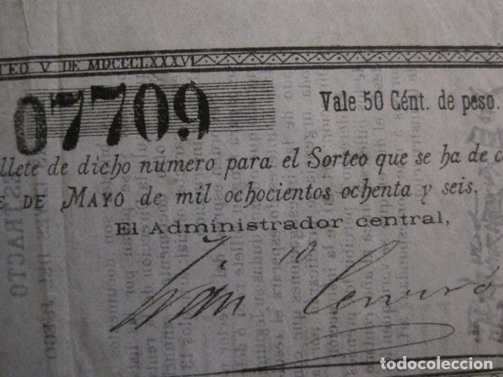 Lotería Nacional: REAL LOTERIA FILIPINA-MANILA-DECIMA PARTE BILLETE-AÑO 1886-VER FOTOS-(V-16.443) - Foto 4 - 161273074