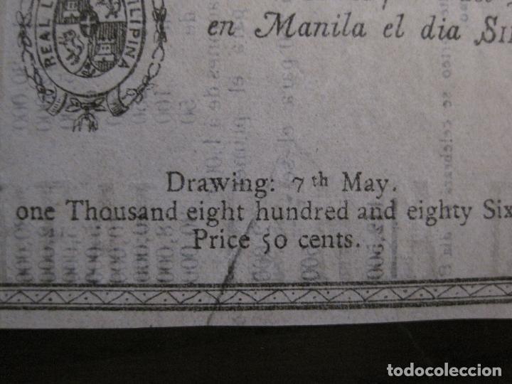 Lotería Nacional: REAL LOTERIA FILIPINA-MANILA-DECIMA PARTE BILLETE-AÑO 1886-VER FOTOS-(V-16.443) - Foto 6 - 161273074